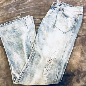 Express distressed boot cut jeans